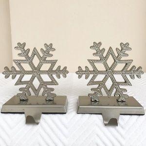 Pottery Barn Set Snowflake Stockings Holders Gray